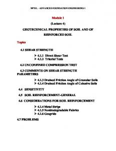 Module 1 (Lecture 4) GEOTECHNICAL PROPERTIES OF SOIL AND OF REINFORCED SOIL