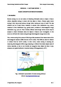 MODULE 1 LECTURE NOTES 1 BASIC CONCEPTS OF REMOTE SENSING