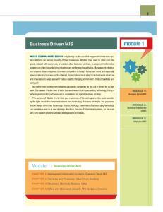 module 1 Module 1: Business Driven MIS Business Driven MIS