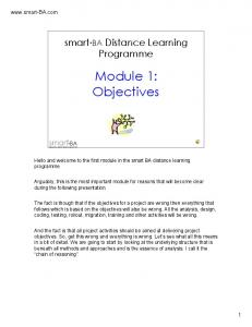 Module 1: Objectives