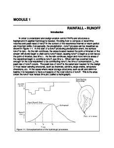 MODULE 1 RAINFALL - RUNOFF. Introduction