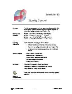Module 12. Quality Control. Purpose