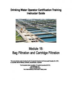 Module 18: Bag Filtration and Cartridge Filtration