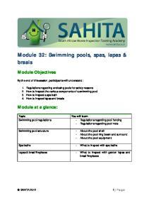 Module 32: Swimming pools, spas, lapas & braais
