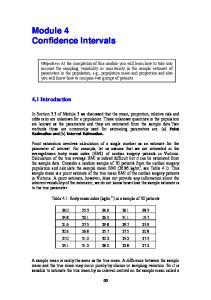 Module 4 Confidence Intervals