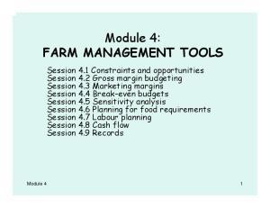 Module 4: FARM MANAGEMENT TOOLS