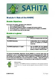 Module 4: Role of the NHBRC