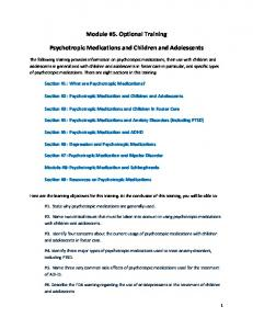 Module #5. Optional Training. Psychotropic Medications and Children and Adolescents