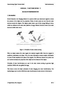 MODULE 7 LECTURE NOTES 2 RADAR INTERFEROMETRY