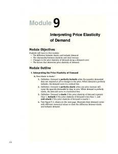 Module 9. Interpreting Price Elasticity of Demand. Module Objectives. Module Outline. I. Interpreting the Price Elasticity of Demand