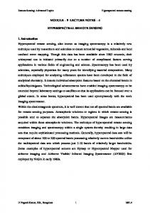 MODULE 9 LECTURE NOTES 4 HYPERSPECTRAL REMOTE SENSING