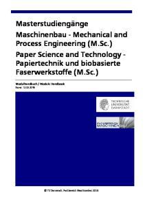 Module Handbook. Stand: TU Darmstadt, Fachbereich Maschinenbau 2018