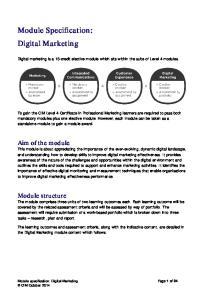 Module Specification: Digital Marketing