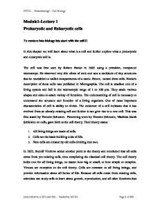 Module1-Lecture 1 Prokaryotic and Eukaryotic cells