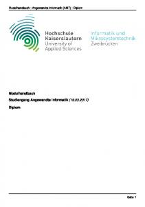 Modulhandbuch - Angewandte Informatik (AI97) - Diplom. Modulhandbuch Studiengang Angewandte Informatik ( ) Diplom