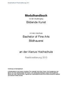 Modulhandbuch! Bildende Kunst! Bachelor of Fine Arts! Bildhauerei! an der Alanus Hochschule!