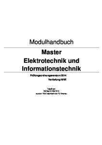 Modulhandbuch Master Elektrotechnik und Informationstechnik