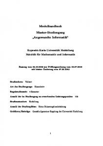Modulhandbuch. Master-Studiengang Angewandte Informatik