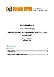 Modulhandbuch. Medienbildung: Audiovisuelle Kultur und Kommunikation