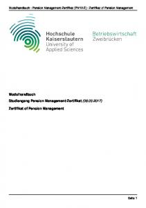 Modulhandbuch Studiengang Pension Management-Zertifikat ( ) Zertifikat of Pension Management