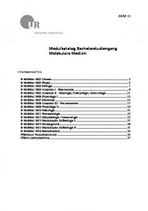 Modulkatalog Bachelorstudiengang Molekulare Medizin