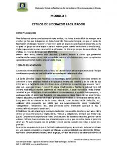 MODULO 3 ESTILOS DE LIDERAZGO FACILITADOR