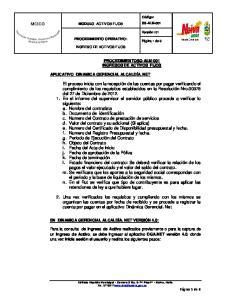 MODULO: ACTIVOS FIJOS PROCEDIMIENTO OPERATIVO: INGRESO DE ACTIVOS FIJOS PROCEDIMIENTOSG-ALM-001 INGRESOS DE ACTIVOS FIJOS