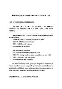 MODULO DE HABILIDADES SOCIALES PARA LA VIDA