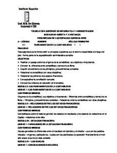 MODULO I: LOS FUNDAMENTOS DE LA CONTABILIDAD UNIDAD 1: LOS FUNDAMENTOS DE LA CONTABILIDAD CONTENIDOS MINIMOS