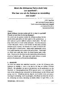 Moet die Afrikaanse Kerke skuld bely oor apartheid?: Wat leer ons uit die Duitsers se worsteling met skuld?
