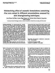 Moisturizing effect of cosmetic formulations containing Aloe vera extract in different concentrations assessed by skin bioengineering techniques