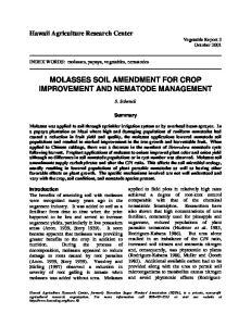 MOLASSES SOIL AMENDMENT FOR CROP IMPROVEMENT AND NEMATODE MANAGEMENT