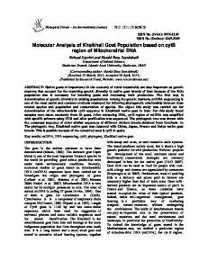 Molecular Analysis of Khalkhali Goat Population based on cytb region of Mitochondrial DNA