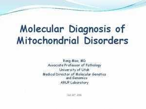 Molecular Diagnosis of Mitochondrial Disorders