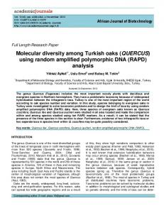 Molecular diversity among Turkish oaks (QUERCUS) using random amplified polymorphic DNA (RAPD) analysis