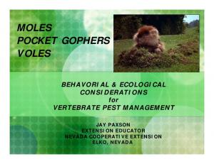MOLES POCKET GOPHERS VOLES