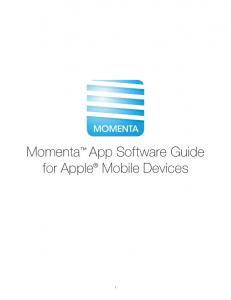 Momenta App Software Guide for Apple Mobile Devices