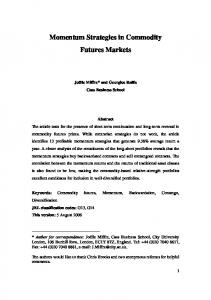 Momentum Strategies in Commodity Futures Markets
