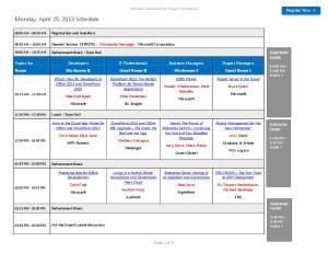 Monday, April 15, 2013 Schedule