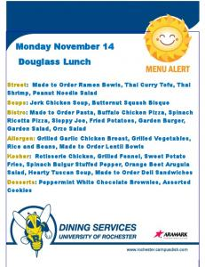 Monday November 14 Douglass Lunch