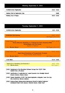 Monday, September 6, Tuesday, September 7, 2010
