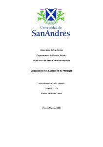MONDONGO Y EL PASADO EN EL PRESENTE