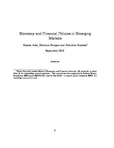 Monetary and Financial Policies in Emerging Markets