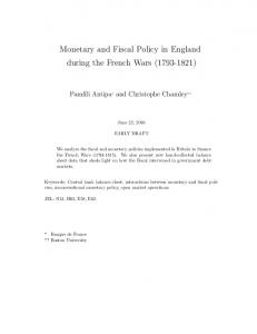 Monetary and Fiscal Policy in England during the French Wars ( )
