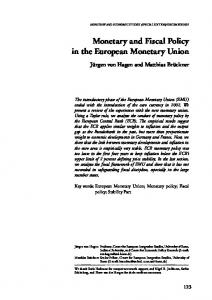 Monetary and Fiscal Policy in the European Monetary Union