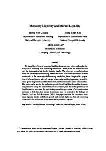 Monetary Liquidity and Market Liquidity