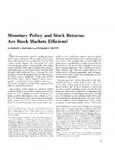 Monetary Policy and Stock Returns: Are Stock Markets Efficient?