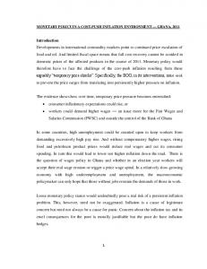 MONETARY POLICY IN A COST-PUSH INFLATION ENVIRONMENT GHANA, 2011