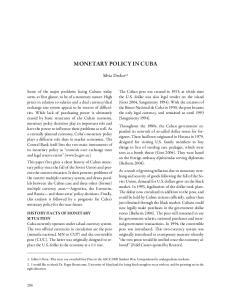 MONETARY POLICY IN CUBA