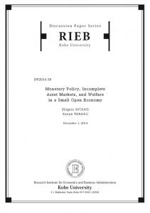 Monetary Policy, Incomplete Asset Markets, and Welfare in a Small Open Economy